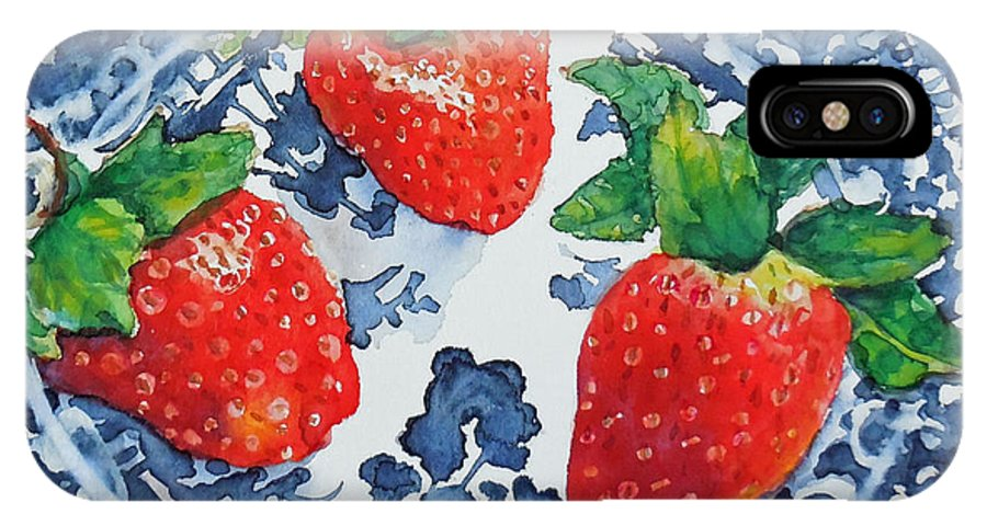 Watercolor IPhone X Case featuring the painting Trois Fraises by Beverly Fagan Gilbertson