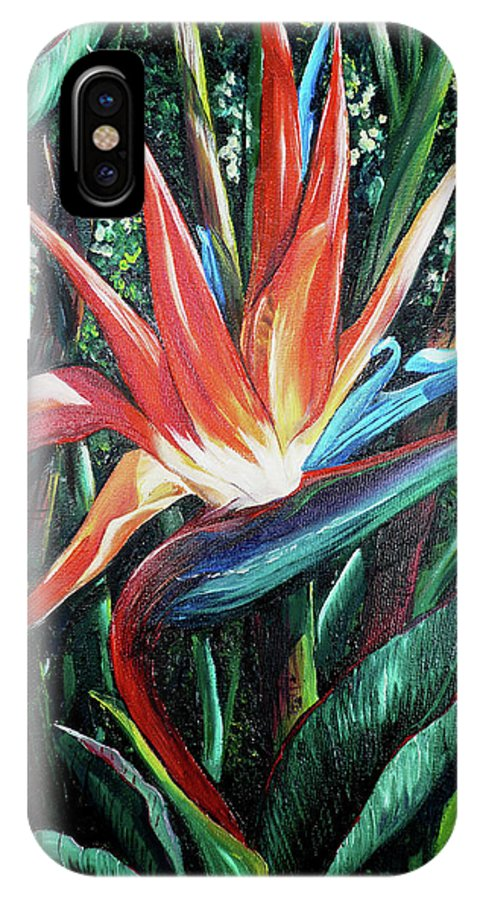 Floral IPhone X Case featuring the painting Tropical Bird by Karin Dawn Kelshall- Best