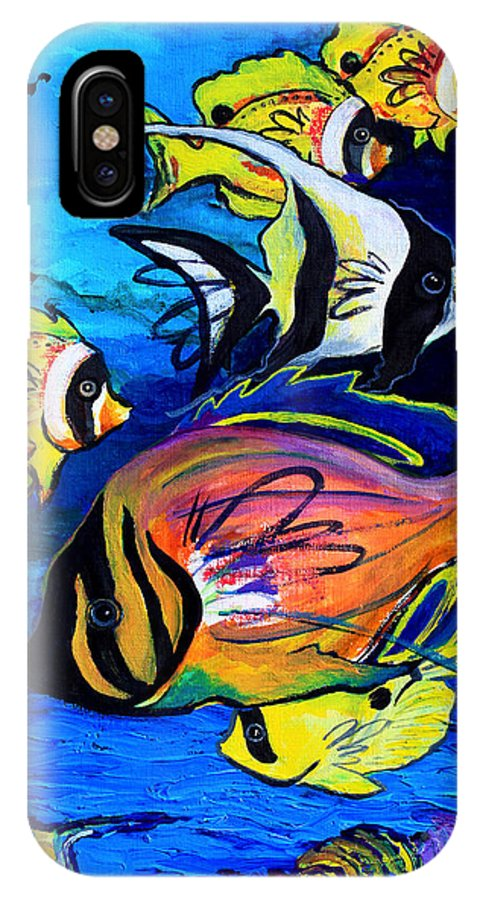 Tropical Art IPhone X Case featuring the painting Tropical Fish by Karon Melillo DeVega