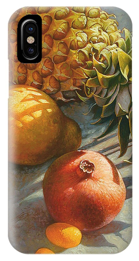 Still Life IPhone X Case featuring the painting Tropical Fruit by Mia Tavonatti