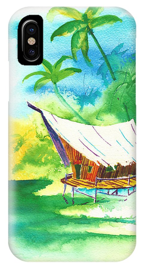 Water IPhone X / XS Case featuring the painting Tropical Landscape 8 by Nelson Ruger