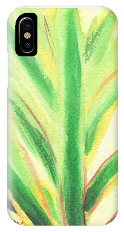 C Sitton Painting Paintings IPhone X Case featuring the painting Tropical Leaf by C Sitton