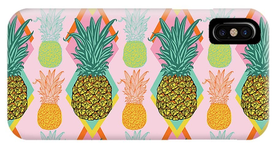 Tropical IPhone X Case featuring the painting Tropical Vector Pineapple Retro by MGL Meiklejohn Graphics Licensing
