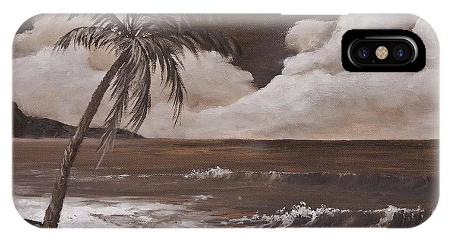 Hawaiian Island IPhone X Case featuring the painting Tropics In Brown by Darice Machel McGuire