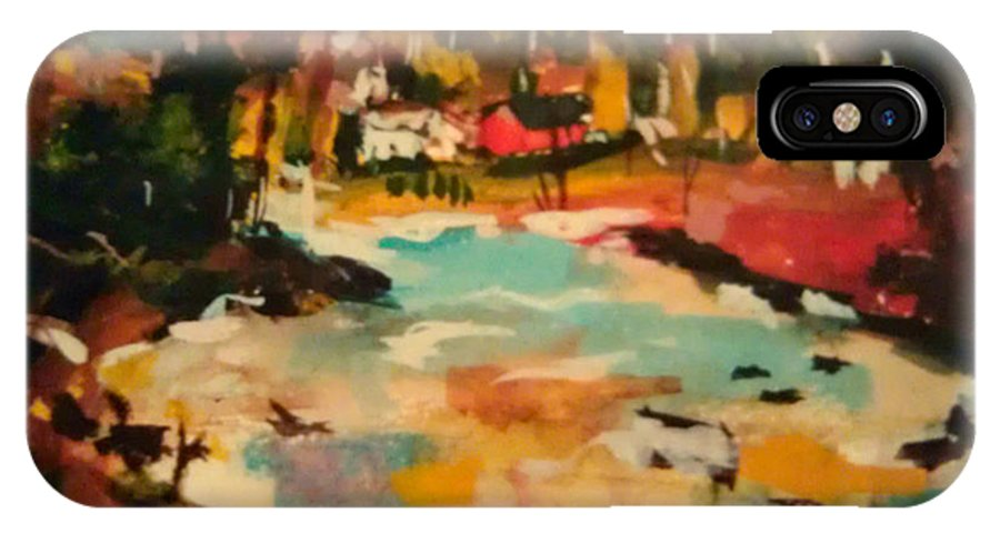 Truckee IPhone X Case featuring the painting Truckee River Impression by Kathy Stiber