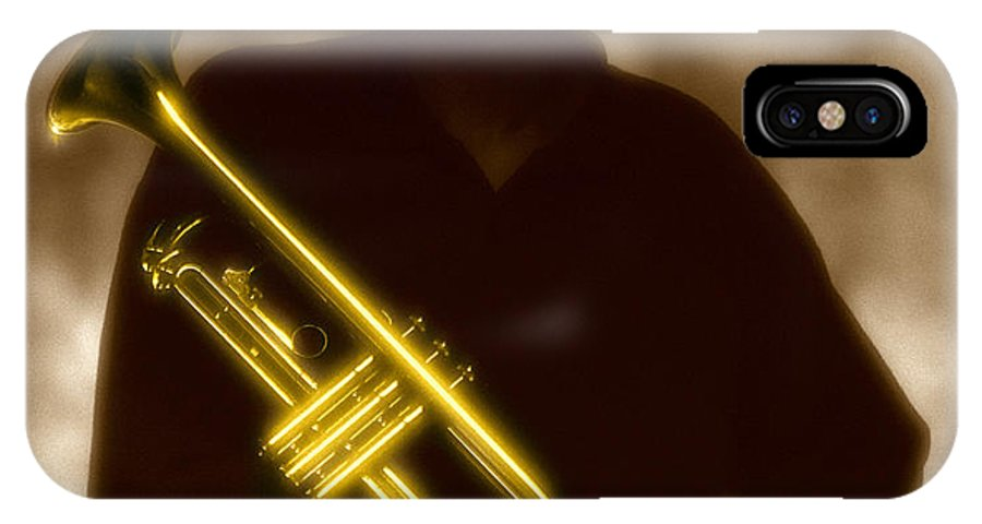 Jazz IPhone X Case featuring the photograph Man Holding Trumpet 1 by Tony Cordoza