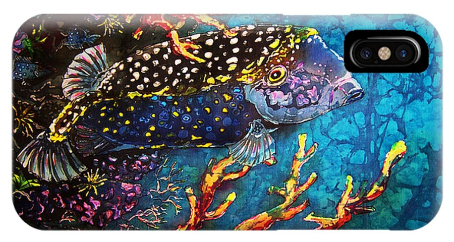 Trunkfish IPhone X Case featuring the painting Trunkfish - Male by Sue Duda