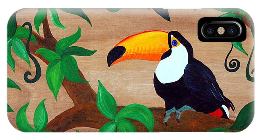 Tucan IPhone X Case featuring the painting Tucan by Bettina Schneider