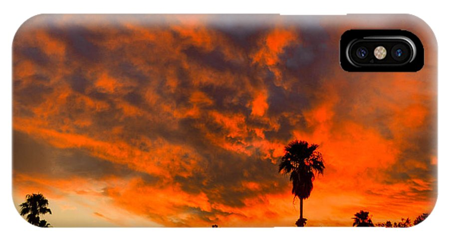 Tucson IPhone X Case featuring the photograph Tucson Arizona Sunrise Fire In The Sky by Michael Moriarty