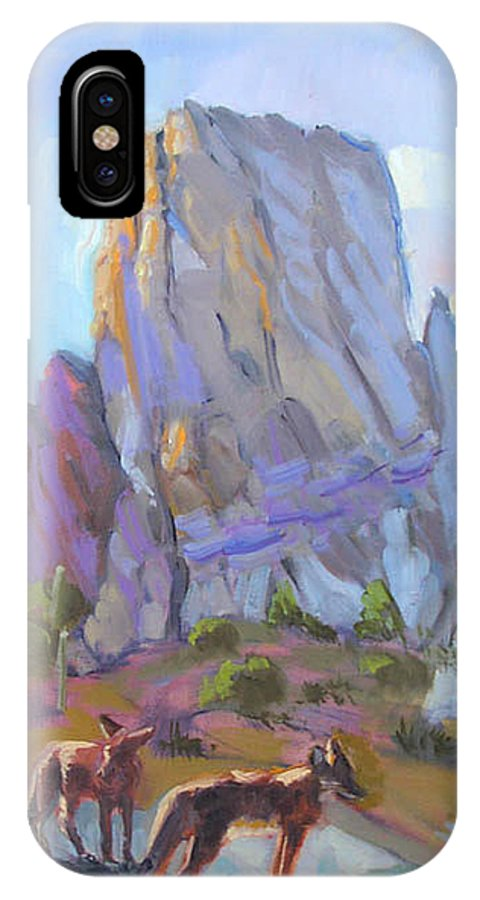 Southwest Art IPhone X Case featuring the painting Tucson Butte With Two Coyotes by Suzanne Cerny