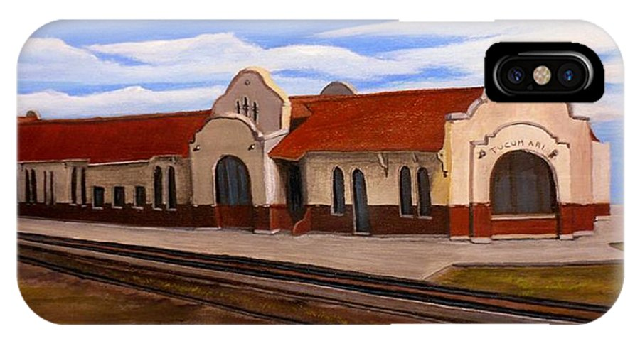 Train Station IPhone X Case featuring the painting Tucumcari Train Depot by Sheri Keith