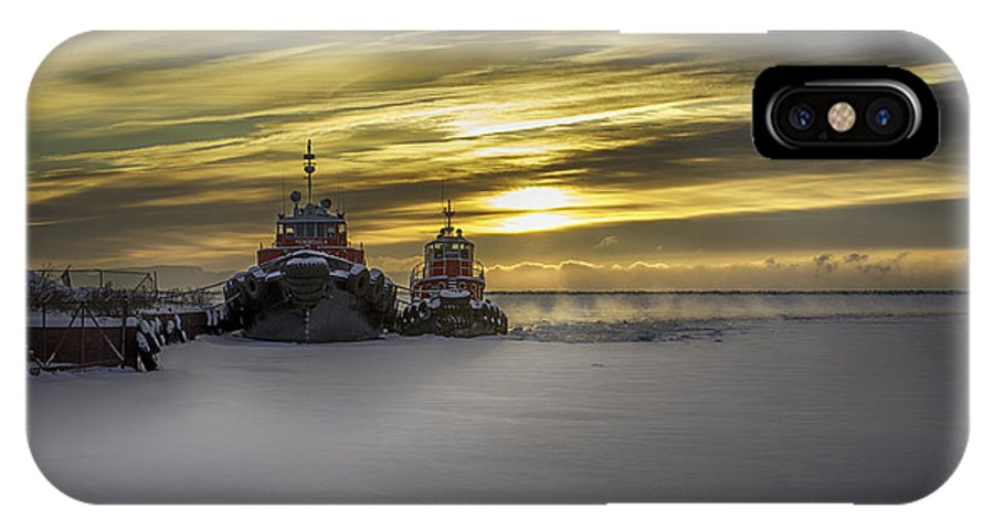 Ship IPhone X Case featuring the photograph Tugs On Ice by Paul Imperius