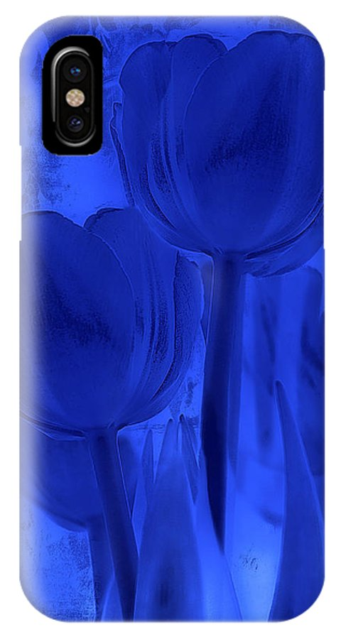 Tulip IPhone X Case featuring the photograph Tulips In Cobalt Blue by Dyle  Warren