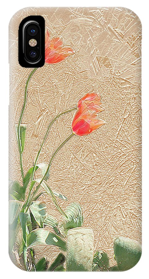 Garden IPhone X Case featuring the mixed media Tulips In Gold Leaf by Steve Karol