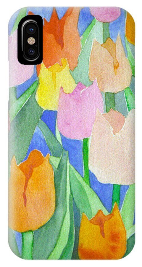 Tulips IPhone X Case featuring the painting Tulips Multicolor by Christina Rahm Galanis