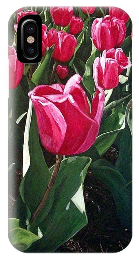 Painting IPhone X Case featuring the painting Tulips by Rachel Kilpatrick