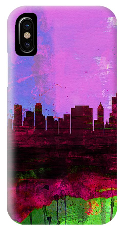 Tulsa IPhone X Case featuring the painting Tulsa Watercolor Skyline 2 by Naxart Studio