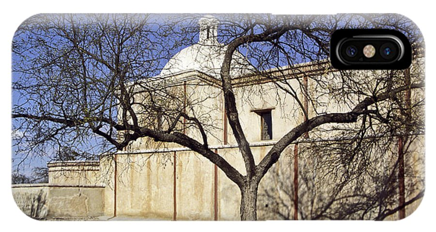 Mission IPhone X Case featuring the photograph Tumacacori With Tree by Kathy McClure