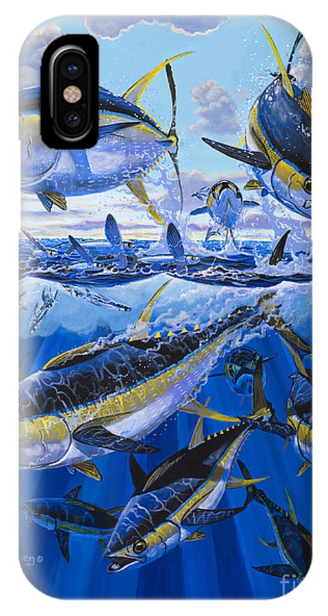 Tuna IPhone X Case featuring the painting Tuna Rampage Off0018 by Carey Chen
