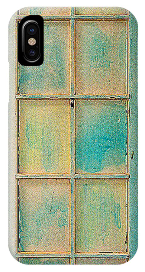 Painted Wooden Door IPhone X Case featuring the sculpture Turquoise And Pale Yellow Panel Door by Asha Carolyn Young