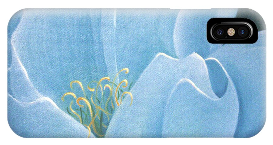 Turquoise IPhone X Case featuring the painting Turquoise Waterlily by Christina Rahm Galanis
