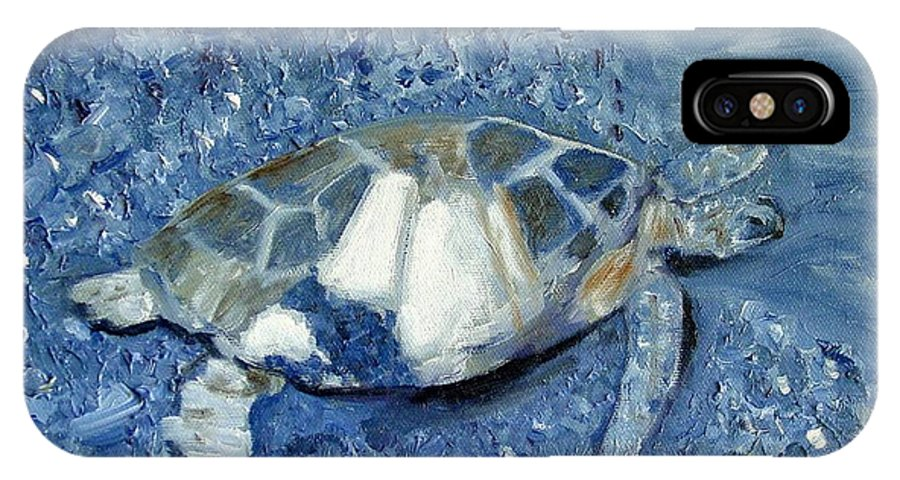 Turtle IPhone X Case featuring the painting Turtle On Black Sand Beach by Laurie Morgan