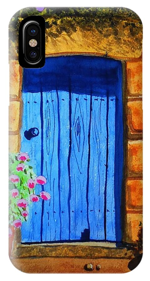 Watercolor IPhone X Case featuring the painting Tuscan Door by Charles Eagle