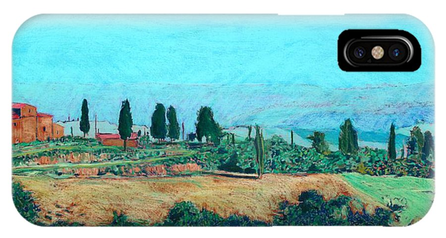 Landscape IPhone X Case featuring the painting Tuscan Farm by Allan P Friedlander