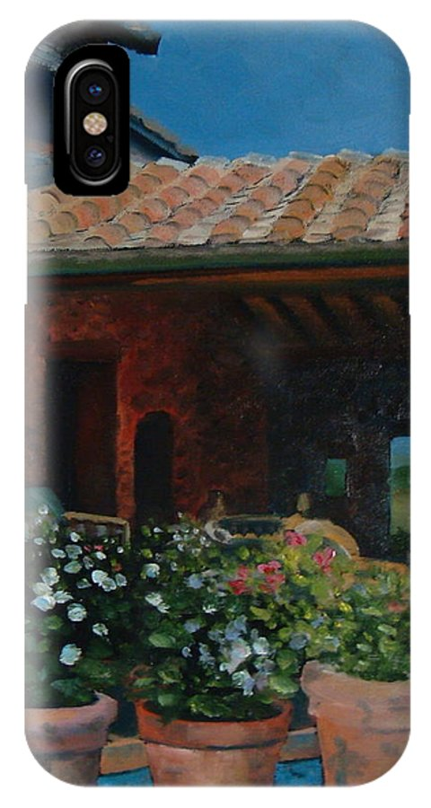Tuscany IPhone X Case featuring the painting Tuscan Flower Pots by Christina Clare