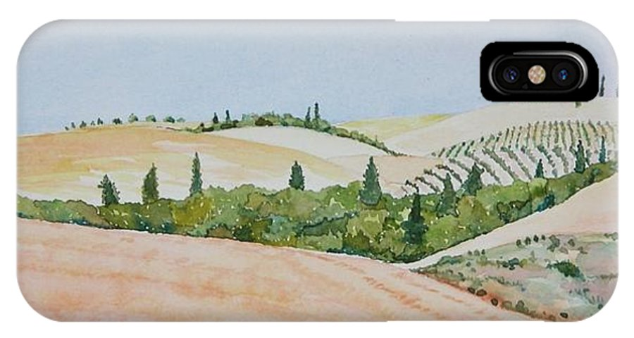 Landscape IPhone X Case featuring the painting Tuscan Hillside One by Mary Ellen Mueller Legault