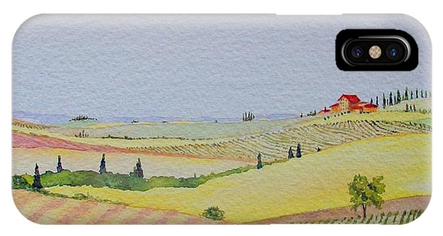 Watercolor IPhone X Case featuring the painting Tuscan Hillside Three by Mary Ellen Mueller Legault