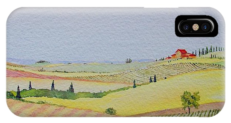 Watercolor IPhone Case featuring the painting Tuscan Hillside Three by Mary Ellen Mueller Legault