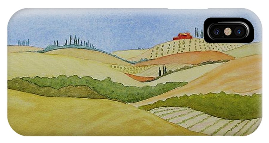 Italy IPhone X Case featuring the painting Tuscan Hillside Two by Mary Ellen Mueller Legault