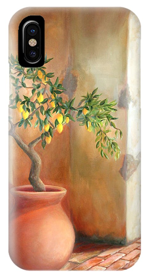 Lemon IPhone X Case featuring the painting Tuscan Lemon Tree by Michael Rock