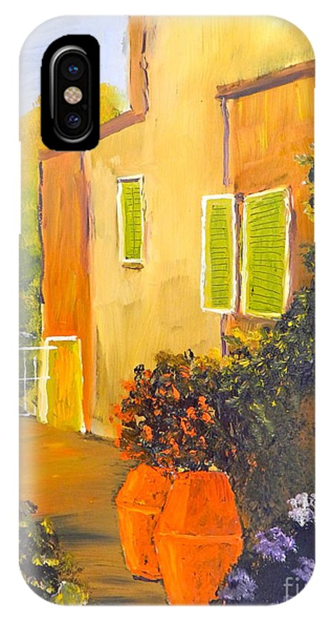 Tuscany IPhone X Case featuring the painting Tuscany Courtyard by Pamela Meredith