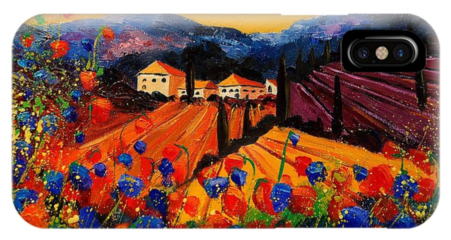 Poppies IPhone X Case featuring the painting Tuscany Poppies by Pol Ledent