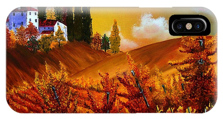 Tuscany IPhone X Case featuring the painting Tuscany Vineyards by Inna Montano