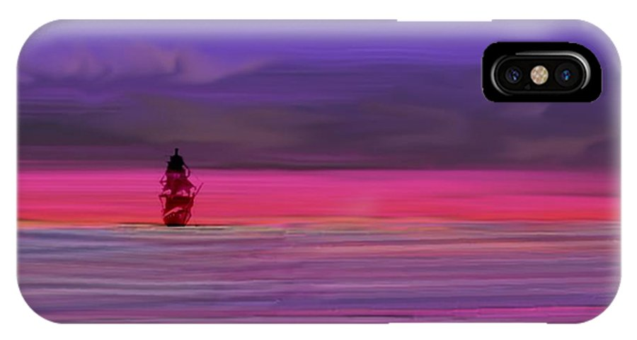 Twilight Sunset Night Sky Sea Colors Clouds Ship Waves Dreams IPhone X Case featuring the digital art Twilight Between Sunset And Night by Dr Loifer Vladimir