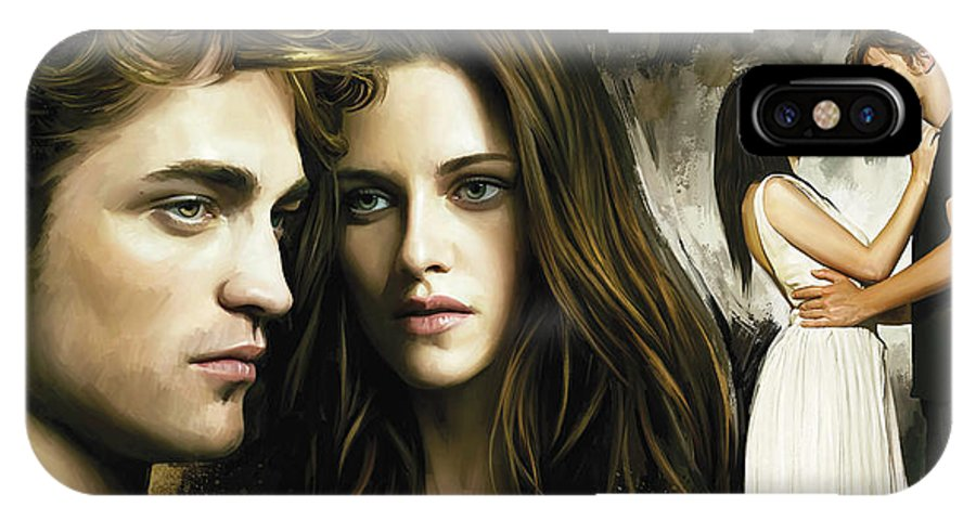 Twilight Paintings IPhone X Case featuring the painting Twilight Kristen Stewart And Robert Pattinson Artwork 1 by Sheraz A