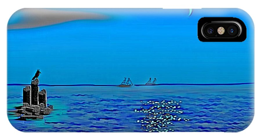 Sea Sky Twilight Ships Waves Ruins Moon IPhone X Case featuring the digital art Twilight on the sea. by Dr Loifer Vladimir