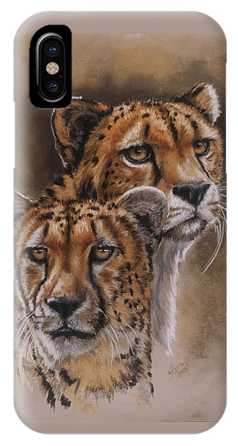 Cheetah IPhone X Case featuring the pastel Twins by Barbara Keith