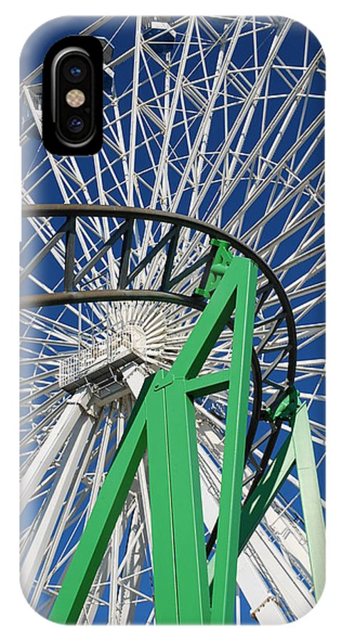 Ferris Wheel IPhone X Case featuring the photograph Twisted Metal by Mary Beth Landis