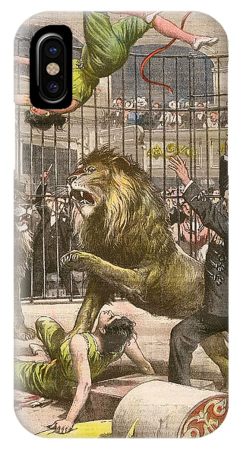 Acrobats IPhone X Case featuring the drawing Two Acrobats Fall Into The Lions' by Mary Evans Picture Library