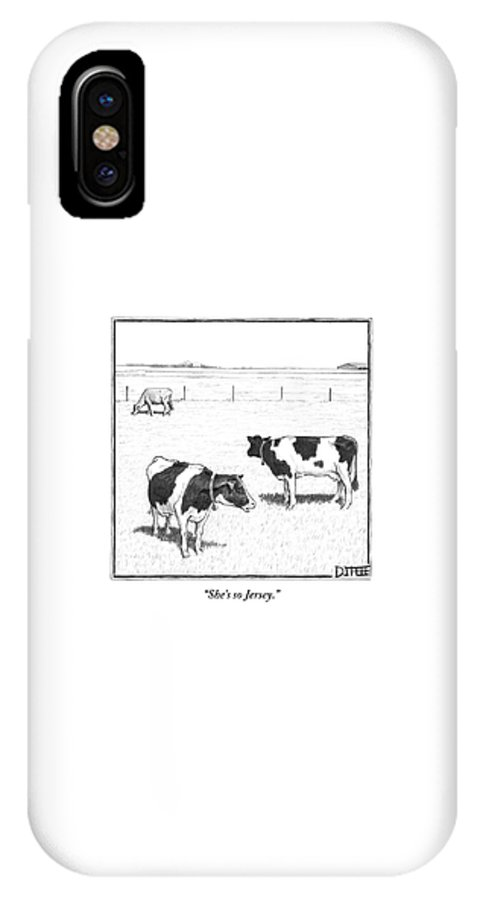 Cows IPhone X Case featuring the drawing Two Spotted Cows Looking At A Jersey Cow by Matthew Diffee