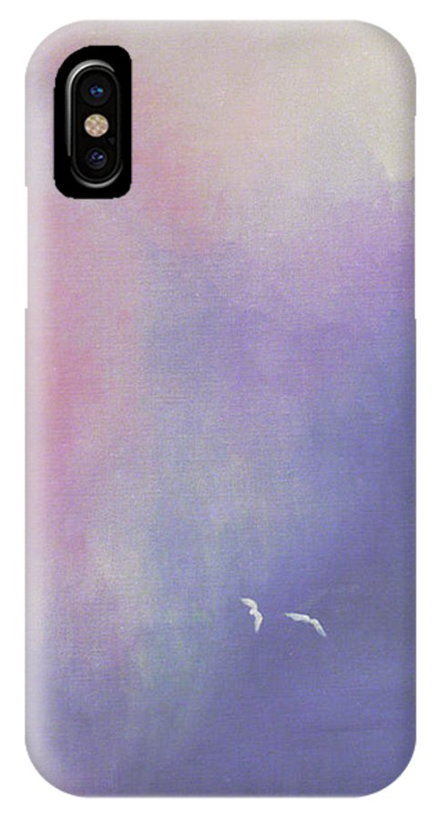 Sky IPhone X Case featuring the painting Two Birds Flying In Ravine. by Ingela Christina Rahm