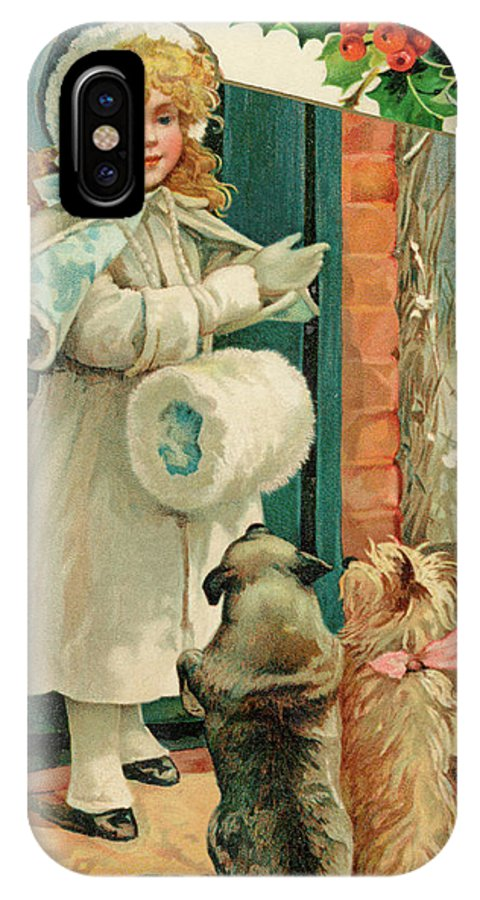Girl IPhone X Case featuring the drawing Two Dogs Prepare To Accompany by Mary Evans Picture Library