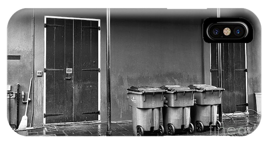 Two Doors And Three Cans IPhone X Case featuring the photograph Two Doors And Three Cans Mono by John Rizzuto