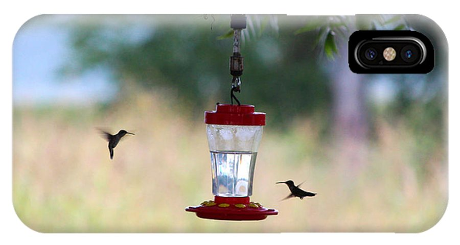 Hummingbird IPhone X Case featuring the photograph Two Feeding Hummingbirds by Jennifer Churchman