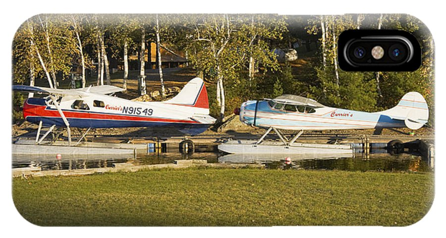 Airplane IPhone X Case featuring the photograph Two Float Planes On Moosehead Lake Near Greenville Maine by Keith Webber Jr