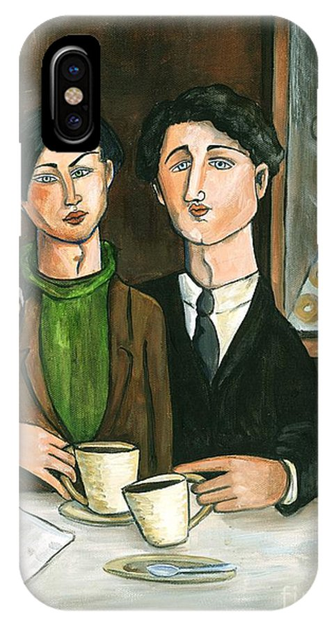 Acrylic IPhone X Case featuring the painting Two Gay Men In A Paris Cafe by C Turner